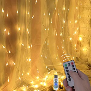 OUSFOT Curtain Lights, 300 LED Curtain String Lights with Remote Control and Timer 8 Modes 9.8 X 9.8ft USB Powered for Bedroom Parties Christmas Wedding Window Indoor No Plug Included (Warm White) (Color: Warm White)