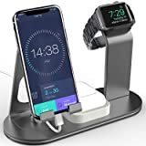 OLEBR Charging Stand 4 in 1 Compatible for iWatch Series 4/3/2/1, AirPods and iPhone Xs/X Max/XR/X/8/8Plus/7/7 Plus /6S /6S Plus/iPad (Original iWatch Charger iRequired) -Space Grey (Color: Space Grey)