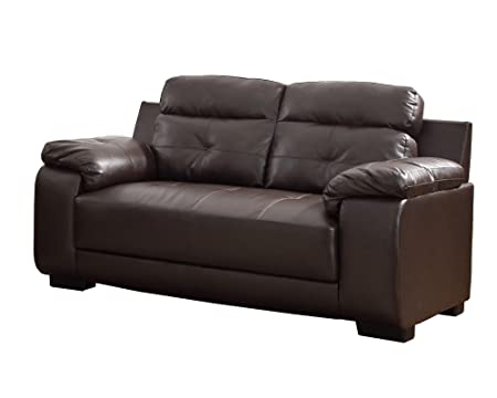 Homelegance 9718BRW-2 Upholstered Brown Bonded Leather Love Seat
