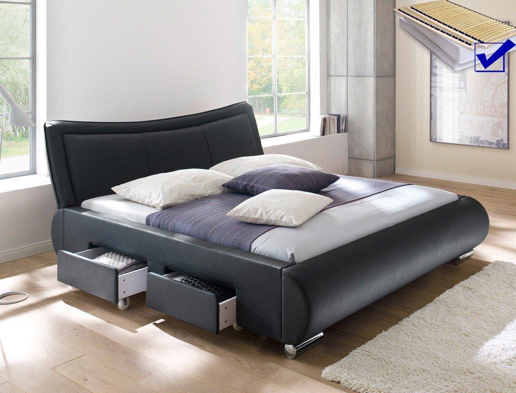Polsterbett schwarz Bett 180×200 + Lattenrost + Matratze + Schubkasten Doppelbett Designerbett Lando günstig bestellen