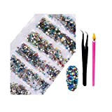 2800Pcs Nail Art AB Crystal Rhinestones - Top Quality Flatback Glass Nail Jewelry Gems Stones with Wax Rhinestone Pen And Tweezers for Nails Decoration Eye DIY Makeup Clothes 6 Sizes (Mixed Color AB) (Color: Mix-15, Tamaño: one size)