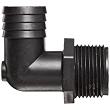 Thogus Polypropylene Tube Fitting, 90 Degree Elbow, Black, NPT Male x Barbed
