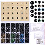 348 Pcs 6-20mm Black Plastic Safety Eyes Colorful Plastic Safety Eyes Craft Eyes and Safety Noses with Washers for Doll, Puppet, Plush Animal (Color: Multicolor)