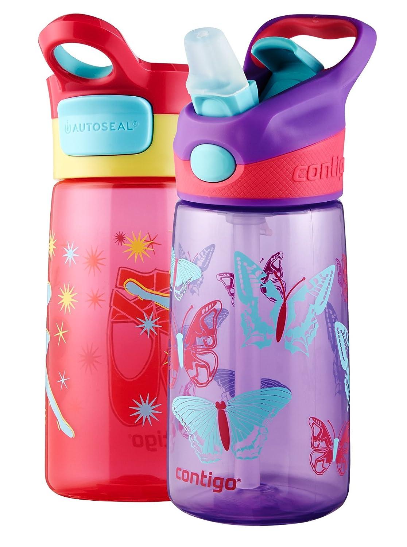 Contigo Striker/Gracie Kids Water Bottle, 14-Ounce, Cherry Ballet and Amethyst Butterfly, 2-Pack