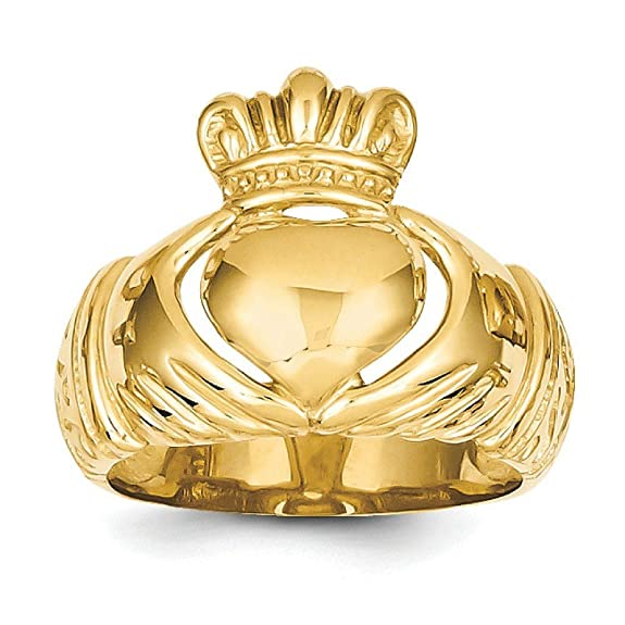 14ct Gold Polished Domed Mens Claddagh Ring - Size Q 1/2