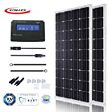 KOMAES 200 Watts 12Volts Monocrystalline Solar Panel With Energy-efficient Tech Kit Includes 20Amp PWM Solar Charge Controller, 20ft Tray Cable, 20ft MC4 Cable, Branch Connector, Mounting Z Brackets (Tamaño: 2 pcs PWM kits)