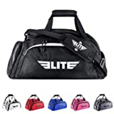 Elite Sports Warrior Boxing MMA BJJ Gear Gym Duffel Backpack Bag with Shoe Compartment (Color: Black, Tamaño: Large)