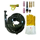 WeldingCity TIG Welding Torch WP-17FV-25R (Flexible/Gas-Valve Head) Complete Ready-to-Go Package Air-Cool 25-foot Cable 150Amp w/Gift (Tamaño: Flex/Gas Valve Head)