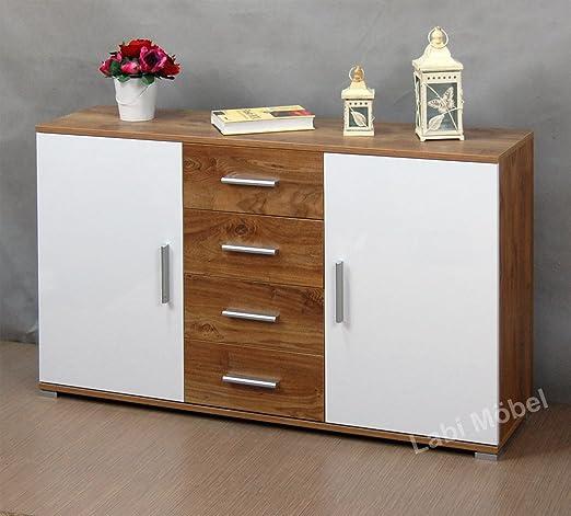 Labi Möbel kr1-Cosmo Cuerpo & cajones: Noce Colon puertas Colores: Blanco Brillante 130cm