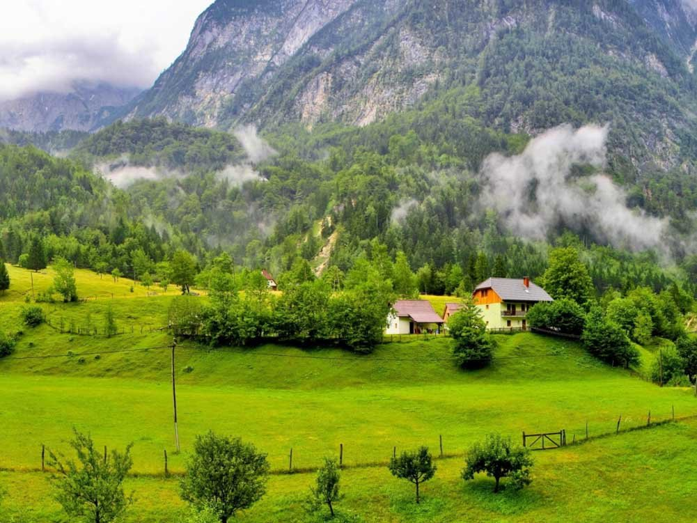 farm in the high mountain meadow