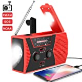 2020 Upgraded Weather Radio Solar Hand Crank Portable Emergency Radio,AM/FM NOAA Weather Radio with LED Flashlight, 2000mAh Power Bank Cellphone Charger, Reading Lamp,SOS Alarm(Red) (Color: Christmas Red)