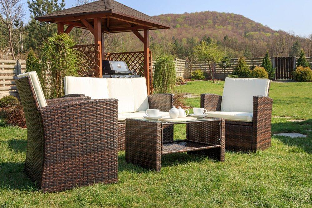 Gartenmöbel Gartengartnitur DiVolio Casella Lounge Sessel Sofa & Tisch Polyrattan Farbauswahl (Schwarz) günstig bestellen