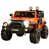 Uenjoy Ride on Cars 12V Children's Electric Cars Motorized Cars for Kids with Remote Control, 3 Speeds, Head Lights, Model HP-002, Orange (Color: Orange, Tamaño: 49.2'' * 31.5'' * 31.5'')