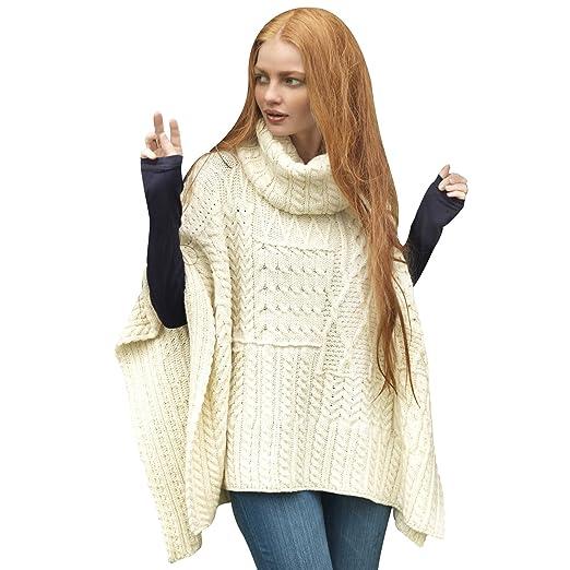 100% Irish Merino Wool Patchwork Aran Cowl Cape