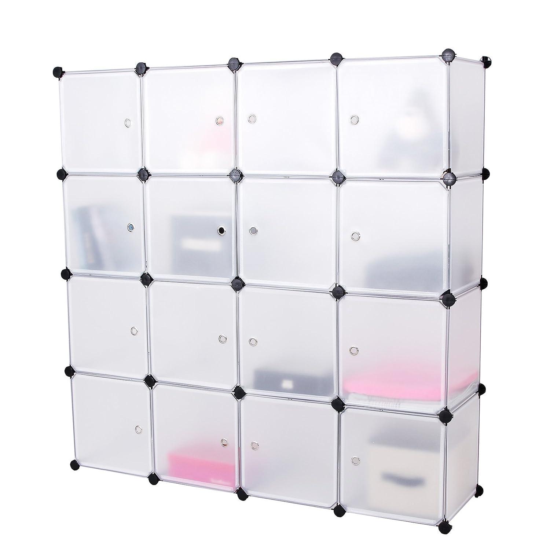 Songmics® Kinderregal Spielzeugkiste Garderobenschrank Wäscheschrank Kleiderschrank Kapazität Regalsystem Weiß LPC44B bestellen