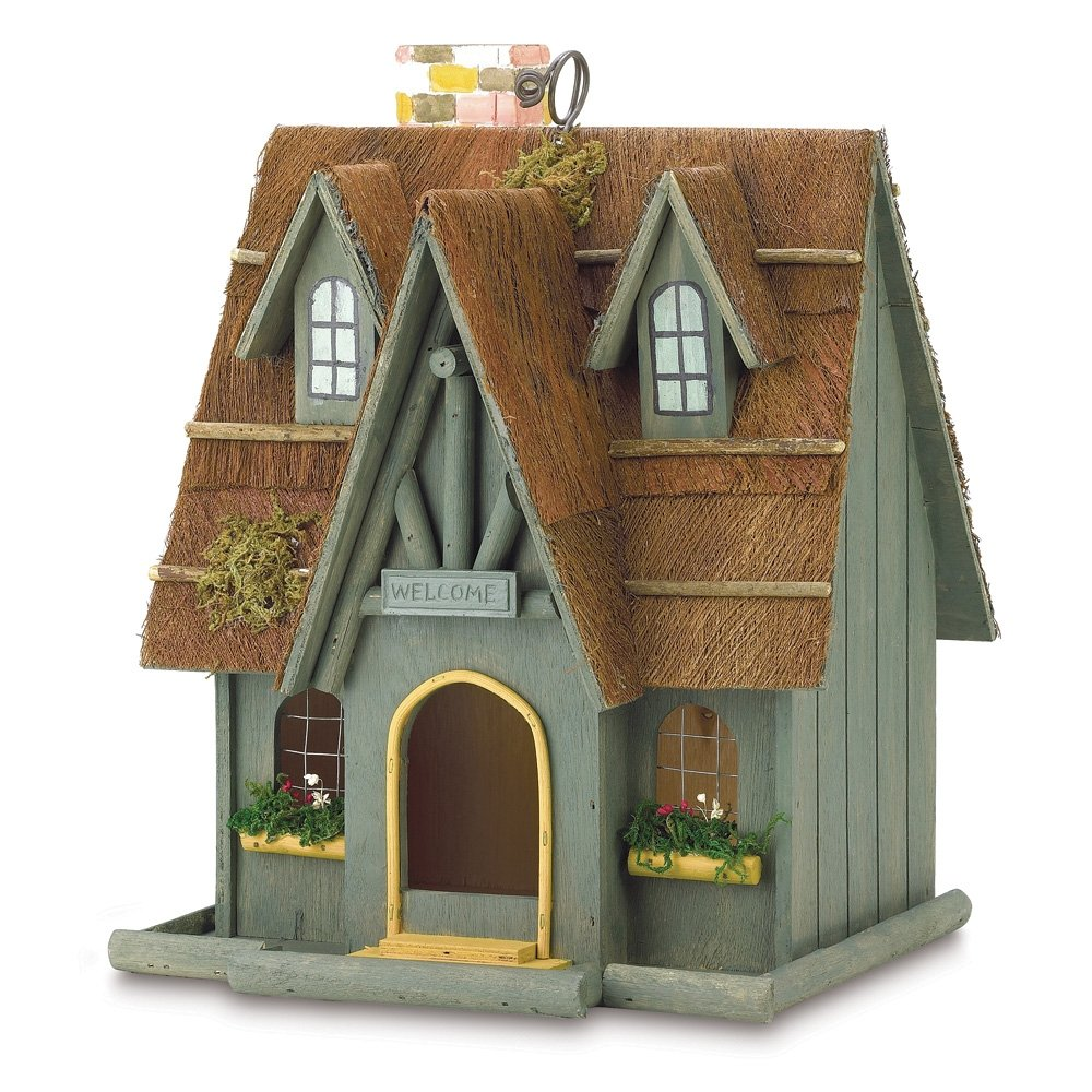 Thatch Roof Wood Cottage Chimney Bird House