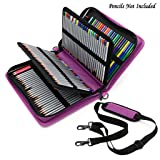 BTSKY Deluxe PU Leather Pencil Case for Colored Pencils - 160 Slot Pencil Holder (Purple) (Color: Purple)