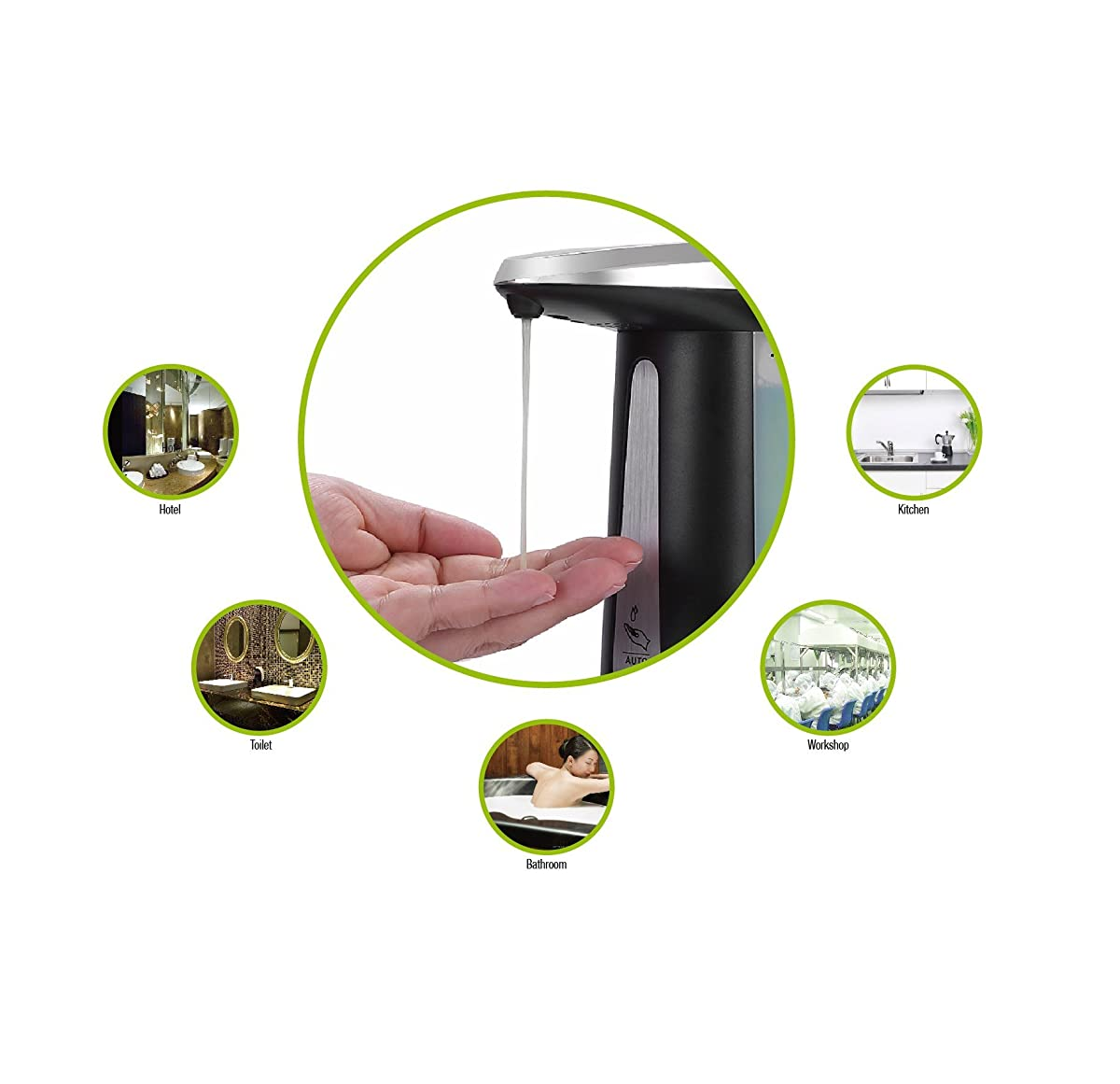 GooQee Automatic Touchless Countertop Liquid Soap Dispenser with IR Sensor - Remain Visible Window - Waterproof Base for Kitchen Bathroom Sanitizer Shampoo Lotion – Chime Optional (Black 12oz/340ml)