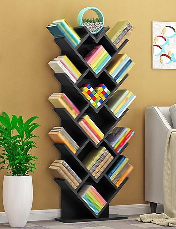 WSSF- Scaffale per libri Scaffale per alberi Personalità Legno Libreria per bambini Pavimento Soggiorno al coperto Camera da letto Scaffali a forma di cuore Scaffali creativi Multilayer Finishing(colore opzionale, 50 * 20 * 140cm) ( Colore : Colore