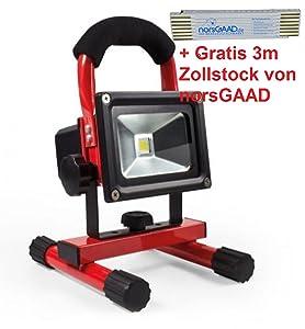 Kabelloser Akku LED Strahler 10 W  Überprüfung und Beschreibung