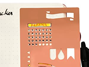 Stainless Steel Stencil I Ruler Semi Circle Habit Tracker Template I Great for Bullet Journal Calendar Notebook Agenda I Scrapbook Album Craft Supplies for Adults KidsGOLD Stencil (Rose Gold) (Color: ROSE GOLD, Tamaño: small)