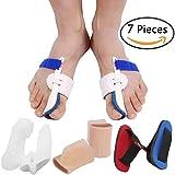 Bunion Corrector Bunion Relief Protector Sleeves Kit, Big Toe Corrector Straightener Separator Treat Pain in Hallux Valgus, Big Toe Joint, Hammer Toe, Splint Aid Surgery Treatment (Blue White Splints)