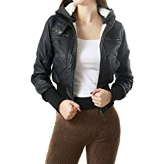 Zip Up Faux Leather Bomber Jacket with Hoodie