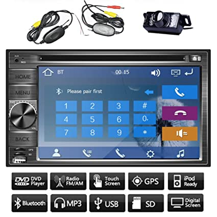 "PC WinCE 8 UI Universal Audio 6.2 ""d'šŠcran tš¢ctil 2Din GPS CD DVD de voiture reproductor De Video PC del coche de Bluetooth, iPod, FM Logo Radio AM RDS gratuit Cš¢mara del surveiller accesorio avi Stereo Subwoo"