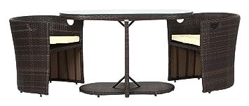Rattan4Life 3-teilig Den Haag Deluxe Polyrattan Gartenmöbel Set, Sofa / Lounge / Gartengarnitur / Kissenbezug, braun / beige