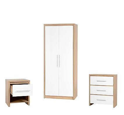 Juego de muebles para dormitorio en roble claro o acabado en blanco brillante