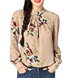 Dainzuy Women's Casual Floral Printed O-Neck Long Sleeve Shirt Blouse Tops (S, Beige) (Color: Beige, Tamaño: Small)