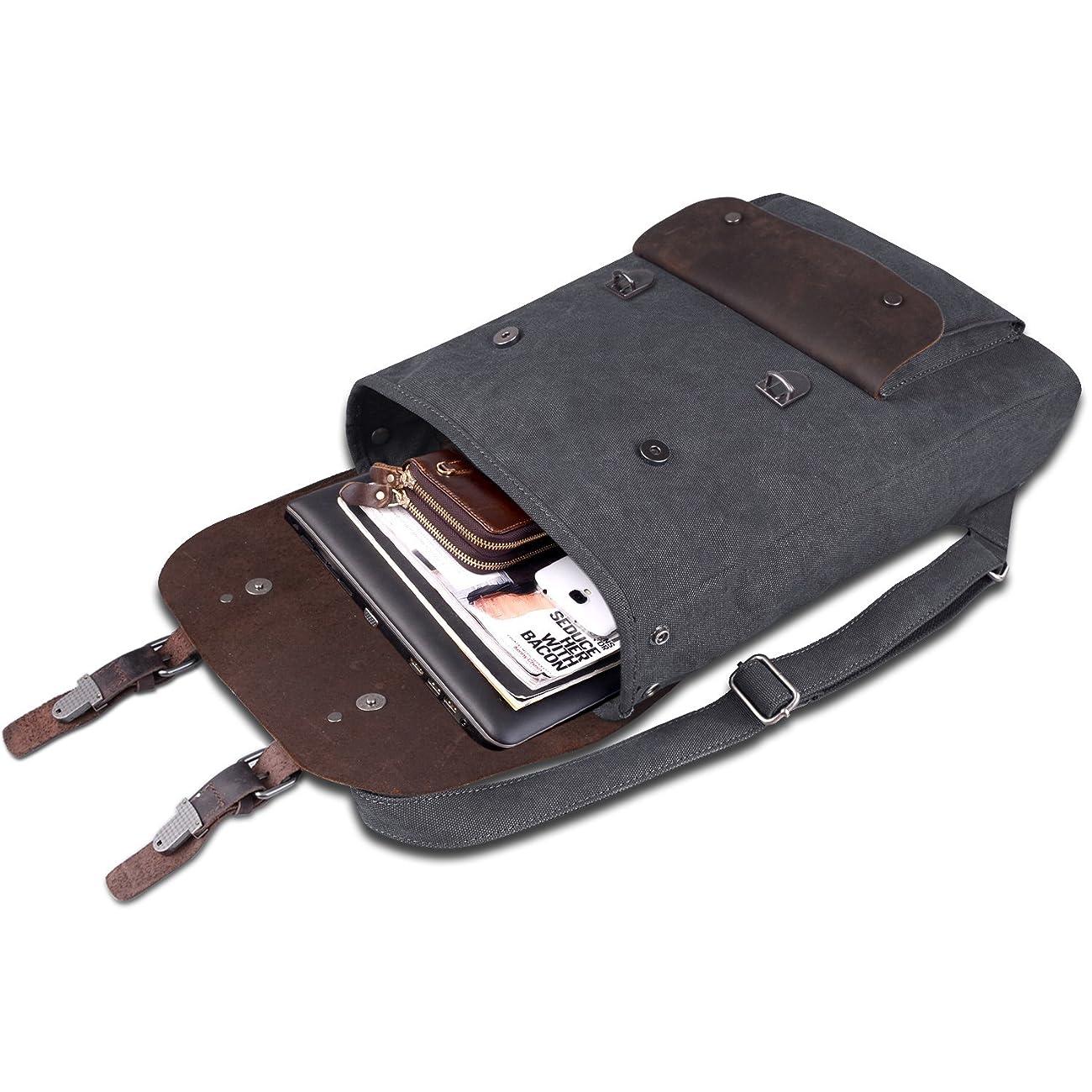 Jack&Chris Vintage Canvas Leather School Backpack Rucksack Bag Daypack,MC2166 3