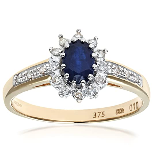 Naava Sapphire and 12 Diamond Set Shoulders 9 ct Yellow Gold Ring