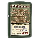 Zippo Lighter: Second Amendment Rights - Green Matte (Color: Green Matte Rights)