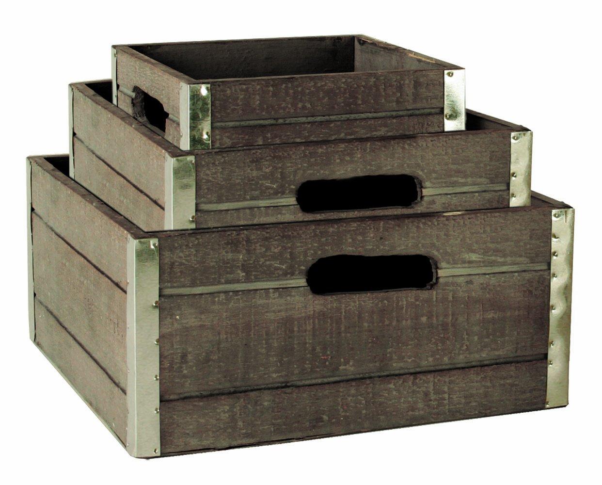 Wood Crates with Galvanized Metal Trim