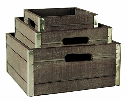 Wood Crates with Galvanized Metal Trim