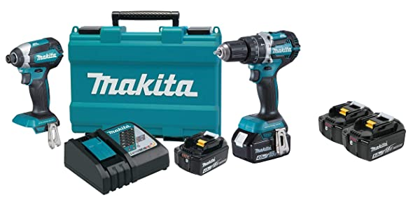 Makita XT269M 18V LXT Lithium-Ion Brushless Cordless 2-Pc. Combo Kit (4.0Ah) & Makita BL1850B-2 18V LXT Lithium-Ion 5.0Ah Battery Twin Pack