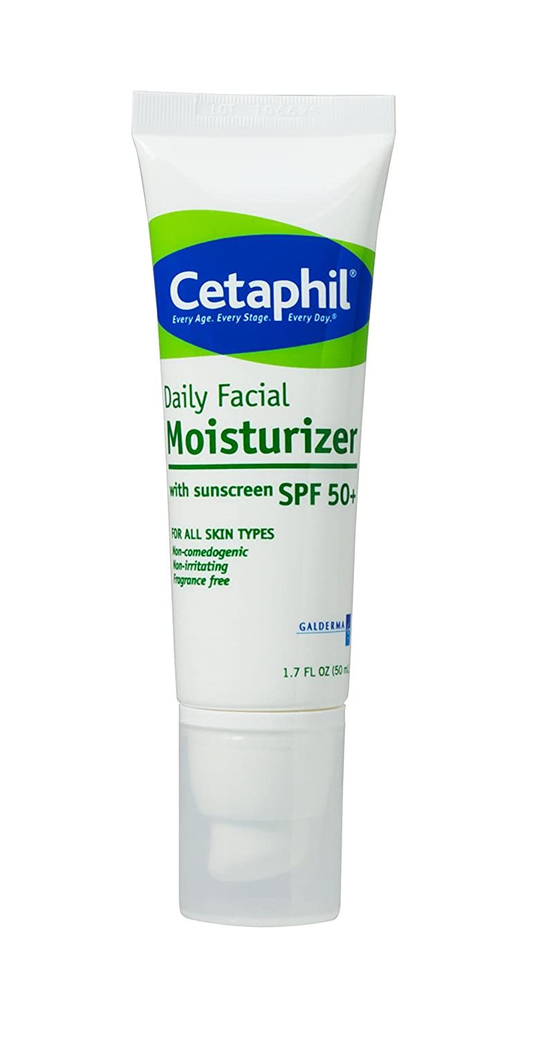 Cetaphil Daily Facial Moisturizer with Sunscreen, SPF 50+, 1.7 Fluid Ounce (Pack of 3)