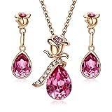 CDE Jewelry Set Flower Swarovski Necklace Earring Fashion Jewelry Gift for Women (Color: Rose Gold Jewelry Set, Tamaño: Medium)