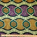 African Print Fabric Cotton Print Arawak 44'' wide By The Yard Purple Yellow Green