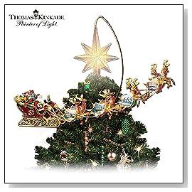 Thomas Kinkade Holidays in Motion Rotating Illuminated Treetopper: Animated Christmas Decor