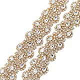 XINFANGXIU 1 Yard Gold Rhinestone Beaded Wedding Dress Applique Sparkly for Bridal Ribbon Belt Iron on Crystal Thin Jeweled Sash Applique for Women Formal Prom Evening Bridesmaid Gown (Color: Gold-480, Tamaño: 36*1.6 inches)