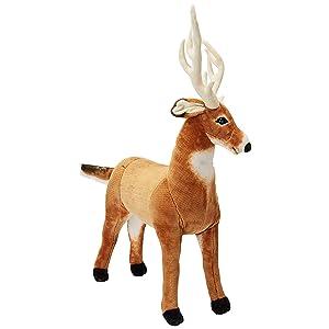 Melissa & Doug Giant Deer - Lifelike Stuffed Animal (over 3 feet long) (Color: Brown, Tamaño: Large)