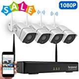1080P Wireless Security Camera System, Firstrend 8CH Wireless NVR System with 4pcs 1080P Security IP Camera and 2TB Hard Drive Pre-Installed, 65ft Night Vision and Easy Remote Monitoring (Color: 4pcs 1080P Cams+8CH 1080P NVR(2TB HDD))