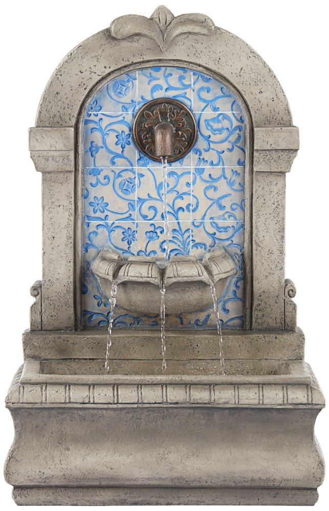 "Manhasset 30 1/4"" High Stone and Blue Outdoor Floor Fountain"