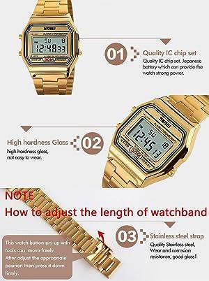 RELOJ DE ACERO INOXIDABLE DORADO DIGITAL PASOY - con retroiluminación y reloj multifuncional impermeable Relojes deportivos