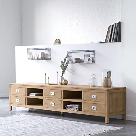 Módulo tv mueble mesa teca maciza madera multimedia 220cm salón nuevo