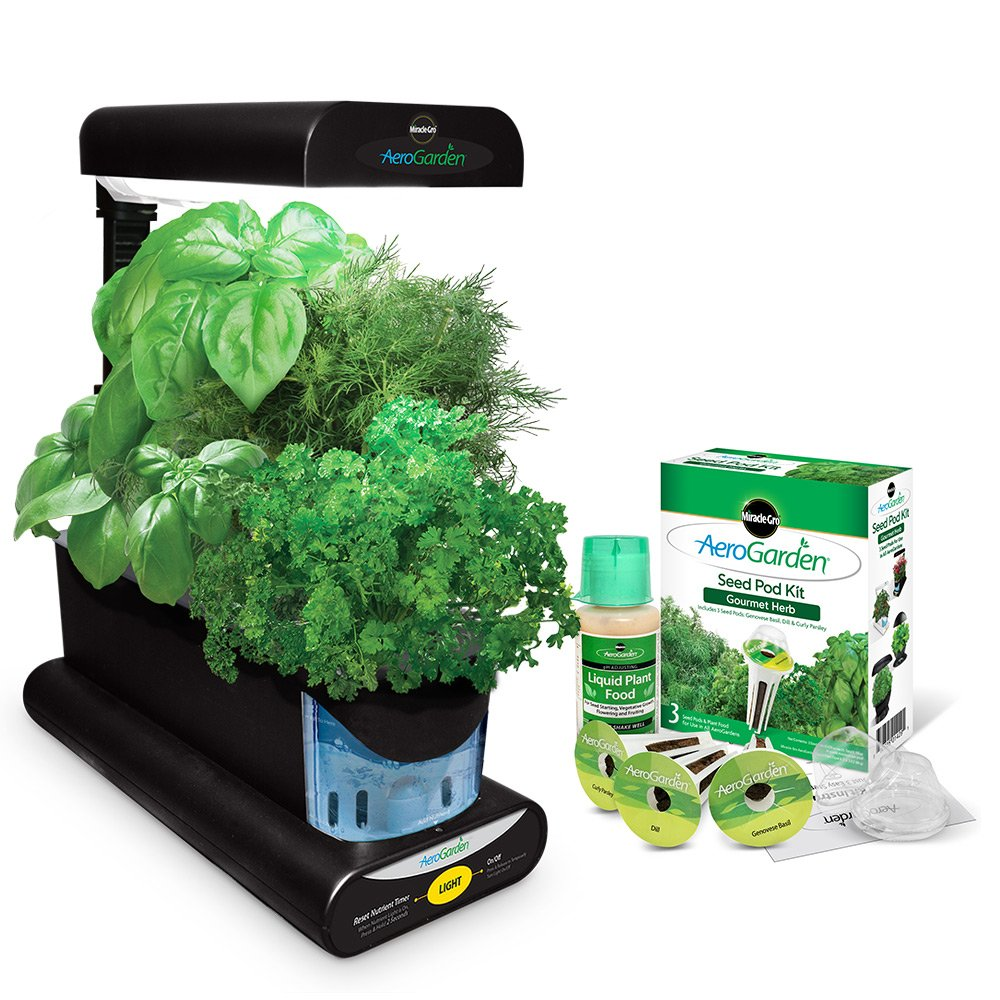 Great Miracle-Gro AeroGarden Sprout with Gourmet Herb Seed Pod Kit, Black