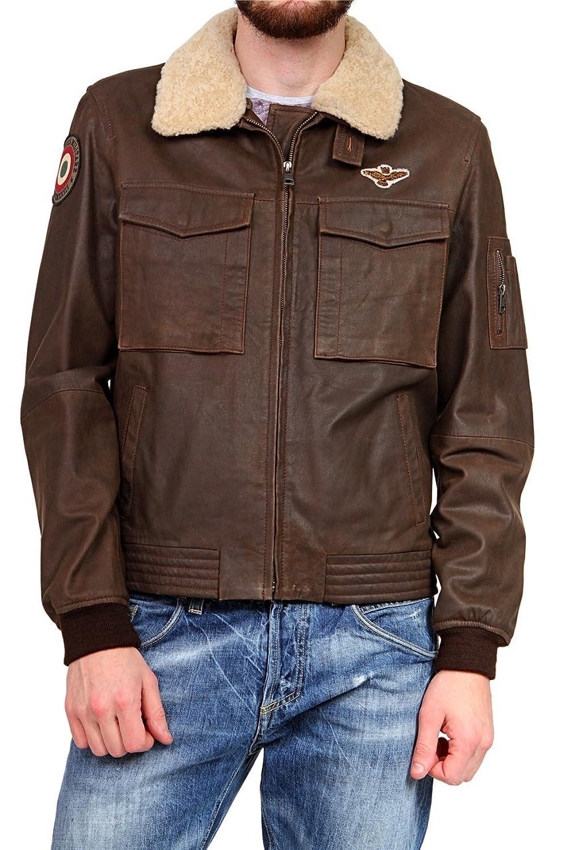 Aeronautica Militare Herren Blouson Lederjacke , Farbe: Dunkelbraun günstig bestellen