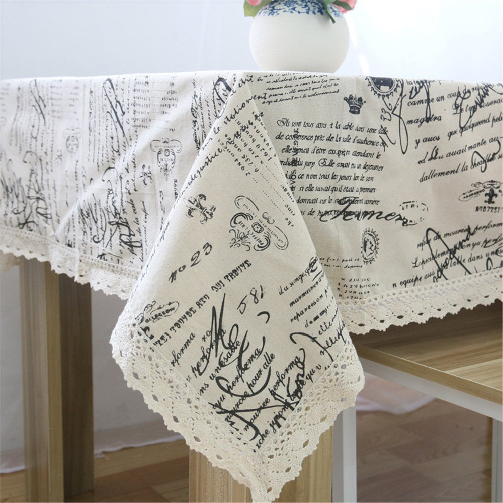 Superwinger Vintage Lace Tex Tablecloth,Linen Embroidered Rectangle Quotes Washable Dinner Picnic Table Cloth,Assorted Size. 0